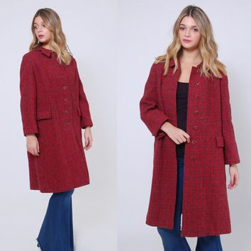 Vintage 60s HARRIS TWEED Wool Coat Burgundy TWEED Coat Scottish Wool Overcoat Mid Century Coat