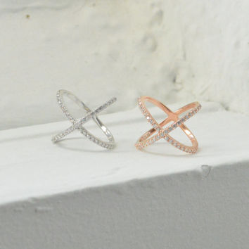 Cross Cross Ring, X Ring, Connected Ring, Silver Ring, Rose Gold Ring, Micro Pave Ring, Midi Ring, Knuckle Ring