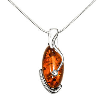 Sterling silver necklace Amber