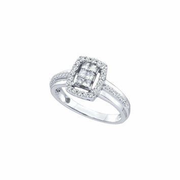 14kt White Gold Women's Princess Diamond Rectangle Frame Cluster Ring 1-2 Cttw - FREE Shipping (US/CAN)