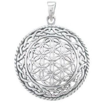 925 Sterling Silver Celtic Infinity Knots Flower of Life Sacred Geometry Pendant
