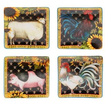 Certified International French Barnyard Square Dinner Plates (Set of 4)