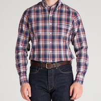 Navy and Red Madras Check Shirt with Button Down Collar