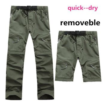 Tectop Hiking Fishing Mountain Pants Elastic Men Pants Camping Outdoors Leisure Breathable Trousers Removable Quick-Drying Pants