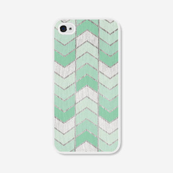 Chevron iPhone 5 Case Mint Green Herringbone - Wood iPhone 5s Case - Mint - Ombre iPhone 5 Cover - Geometric Phone Case iPhone 5c Case