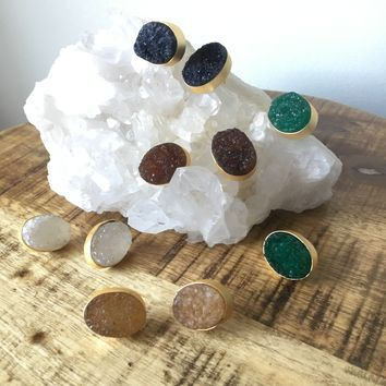 Oval Druzy Stud Earrings- 22k Gold Plated Brass - Oval Geode, Quartz, Agate Earrings