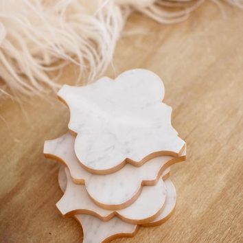 Arabesque Rose Gold Carrara Marble Coasters
