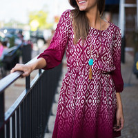 Ahhh-mbre Dress, Burgundy-Ivory