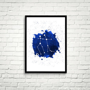 Gemini Constellation Watercolor splashes Print, Blue Constellation Wall Art, Navy Blue Night Sky, Gemini Constellation, Blue Print *5*