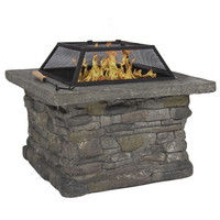 "Elegant 29"" Outdoor Patio Firepit w/ Iron Fire Bowl, Stone Base, & Mesh Cover"