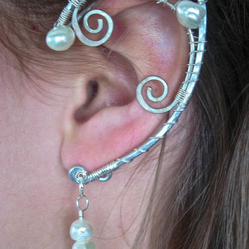 Elegant Pair of Elf Ear Cuffs with Genuine Freshwater Pearls, Faerie Ear Wraps, Silver, Fairy, Elven, Renaissance