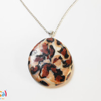Tiger Texture Pendant - Wild Animals' Texture - Handmade of Polymer Clay - Selsal