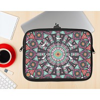 The Mirrored Coral and Colored Vector Aztec Pattern Ink-Fuzed NeoPrene MacBook Laptop Sleeve
