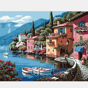 Art Oil Painting villa DIY home-made modern Picture H312 No Frame