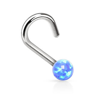 "Blue Fire Opal Nose Ring Nose Jewelry 20ga 1/4"" Body Jewelry Piercing Jewelry"