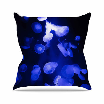 "Juan Paolo ""Jellyfish Blue"" Blue Black Throw Pillow"