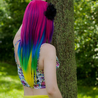 CYBER MONDAY SALE Week / Tropical Breeze / Neon Rainbow / Long Straight Layered Wig