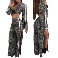 Camou Crop Top and Side Split Pants