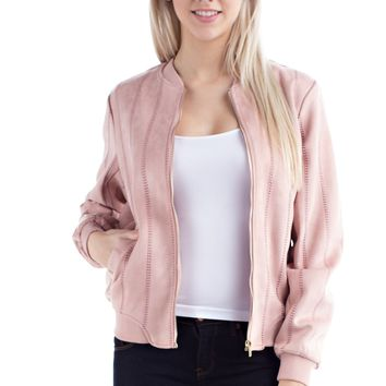 Blush Suede Bomber Jacket