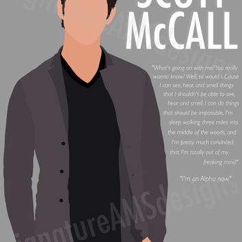 Minimalist Digital Artwork of TEEN WOLF CHARACTER - Scott McCall. ( 11.7x16.5 inches / A3 )