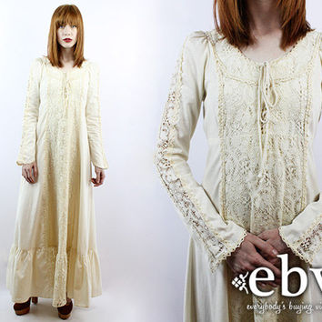 Vintage 60s BLACK LABEL Gunne Sax Cream Lace Maxi Dress Hippie Dress Hippy Dress Hippie Wedding Dress Hippy Wedding Dress Boho Wedding Dress