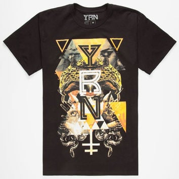 Yrn Jungle Graphic Mens T-Shirt Black  In Sizes