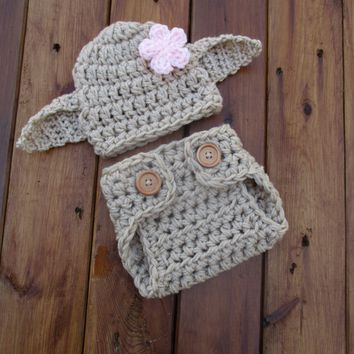 Crochet Dobby Girl Costume Tan Newborn Baby Photo Prop