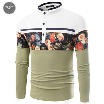 Men Polo Shirts Floral Print Patchwork Long Sleeve Camisa Masculina Mens Polo Shirts Pique Business Casual Sportswear Breathable