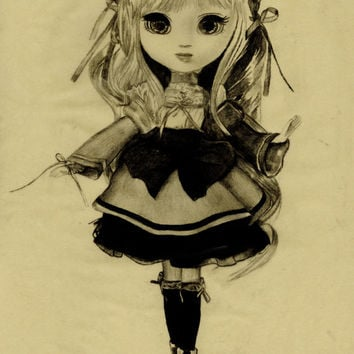 Pullip art, anime girl, pencil drawing, big eyes, retro, kitsch, 60's style, illustration, doll, blyth, cute, kawaii, japanese