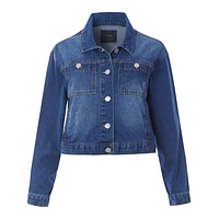 Boxy Cropped Denim Jacket with Pockets (CLEARANCE)