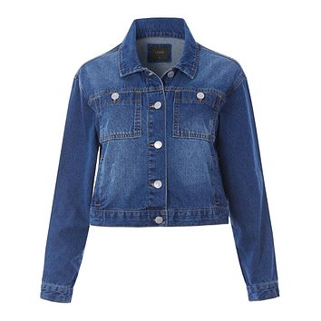 Boxy Cropped Denim Jacket with Pockets