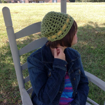 Crochet hat with flower, green, yellow, adult crochet hat, slouchy, beanie