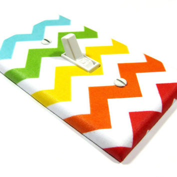 Bold Rainbow Chevron Blake Light Switch Cover Kids by ModernSwitch