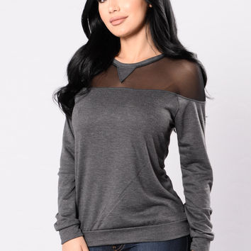 Don't Mesh With My Heart Top - Charcoal