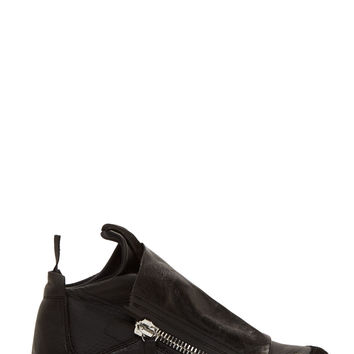 Ca By Cinzia Araia Black Leather Neoprene Insert Zip-up Sneakers