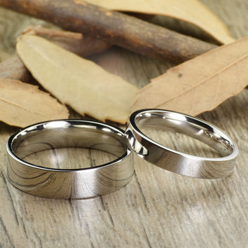 Handmade Flat Plain Matching Wedding Bands, Couple Rings Set, Titanium Rings Set, Anniversary Rings Set