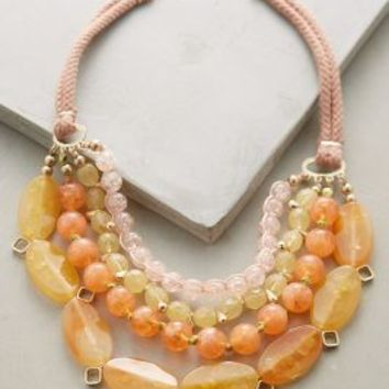 Nectarine Tiered Bib Necklace by Anthropologie in Peach Size: One Size Necklaces