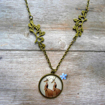 Glass carbochon necklace with the print of deer/ Deer pendant / Art jewelry / Art necklace for the creative people