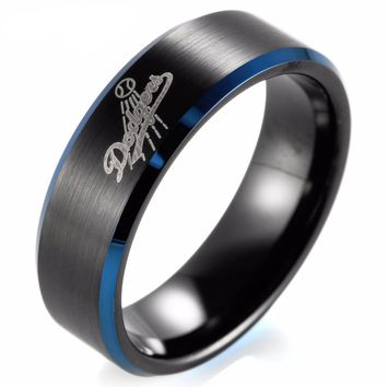 Black Blue Two-Toned Tungsten Carbide Ring  MLB Baseball Los Angeles Dodgers for Men