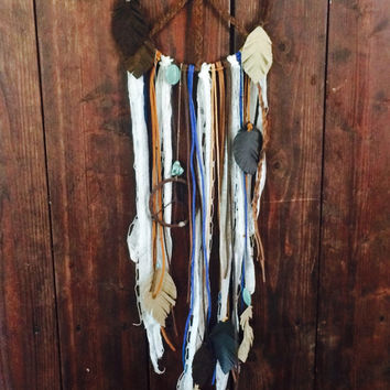 Leather Peace Sign with Mini Dream Catcher, Peace Sign, Leather Feather. Tapestry, Wall Hanging Dream Catcher, Dreamcatcher, Hippie Tapestry