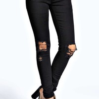 Loren Ripped Knee Black Skinny Jeans