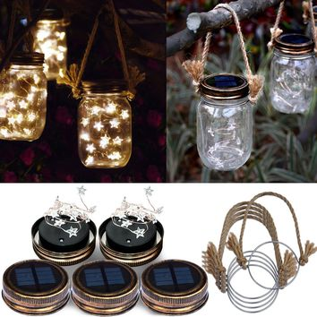 Homeleo 5 Pack Handmade Vintage Solar Mason Jar Lid Star Lights Burlap Hangers, Solar Powered Warm White Mason Jar Firefly Light for Outdoor Spring Garden Summer Backyard Decoration(Jars Not Included)