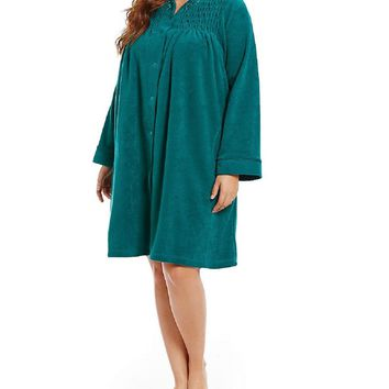 Miss Elaine Brushed Back Terry Snap Front Short Robe 856005