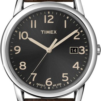 Timex Mens Black Dial Brown Strap Watch