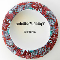 Red Floral Steering Wheel Cover