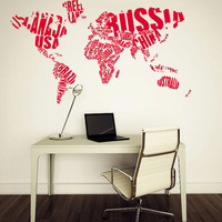 World Map Wall Decals - World Map Country Words Wall Vinyl Decal - Interior Home Decor - Wall Decal Office - Art Vinyl Sticker Decal V1077
