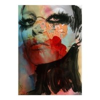 Watercolor Painting - Print Mixed Media - Face Fashion