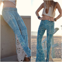 JUNO BELLS /// Boho Lux Divine Clothing /// Bohemian Velour & Vintage Crochet Bell Bottom Flare Pants