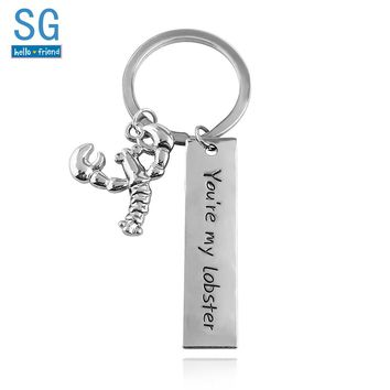 SG TV Friends Lobster Coffee Logo Keychains Pendants You are my Lobster Broch Choker Chaveiro Metal Men Lady Car Keyring Jewelry