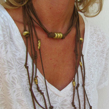 Leather Handmade Jewelry, Christmas Day Necklace, Gold Choker, Boho Wrap, Suede Festive Necklace, Xmas Gift Ideas, For Mom, For Sister